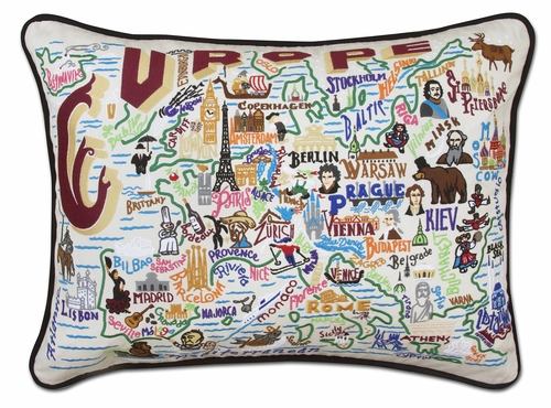Europe XL Hand-Embroidered Pillow by Catstudio (Special Order)
