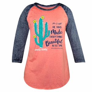 Everything Beautiful Coral and Navy Simply Faithful Long Sleeve Tee by Simply Southern
