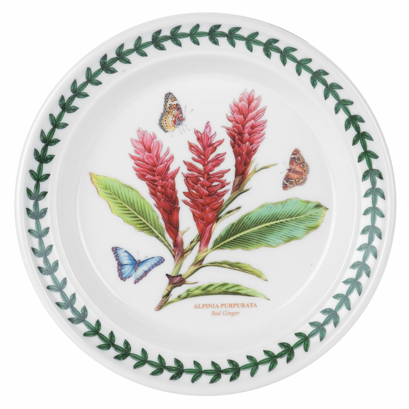 Exotic botanic garden red ginger motif set of 6 bread for Portmeirion dinnerware set of 4 botanic garden canape plates
