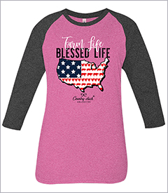 Farm Life Heather Pink & Dark Grey Country Chick Long Sleeve Teeby Simply Southern