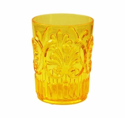 Fleur Glassware Yellow Small Tumbler by Le Cadeaux