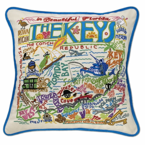 Florida Keys XL Hand-Embroidered Pillow by Catstudio (Special Order)