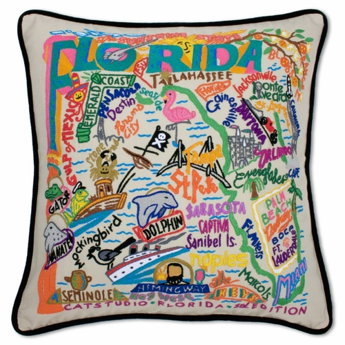 Florida XL Hand-Embroidered Pillow by Catstudio (Special Order)