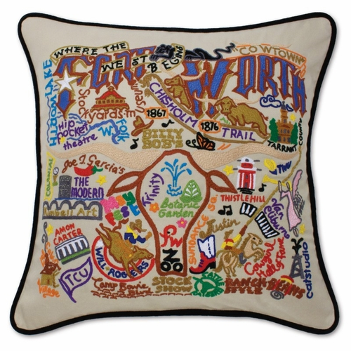 Fort Worth XL Hand-Embroidered Pillow by Catstudio (Special Order)
