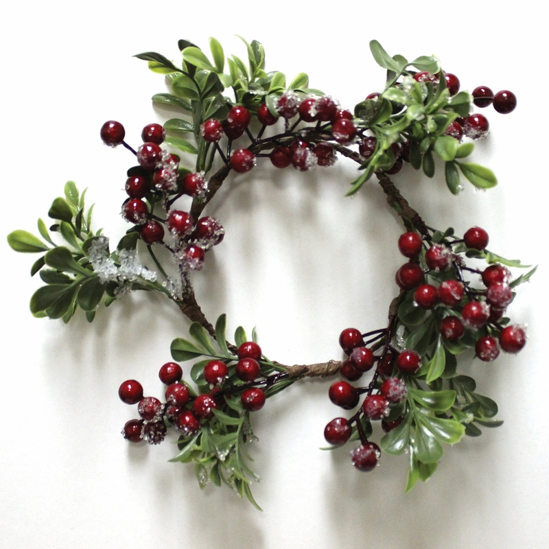 Frosted Cranberry Winter Candle Ring By A Cheerful Giver