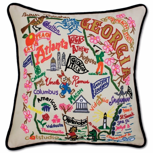 Georgia XL Hand-Embroidered Pillow by Catstudio (Special Order)