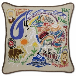 Glacier Park XL Hand-Embroidered Pillow by Catstudio (Special Order)