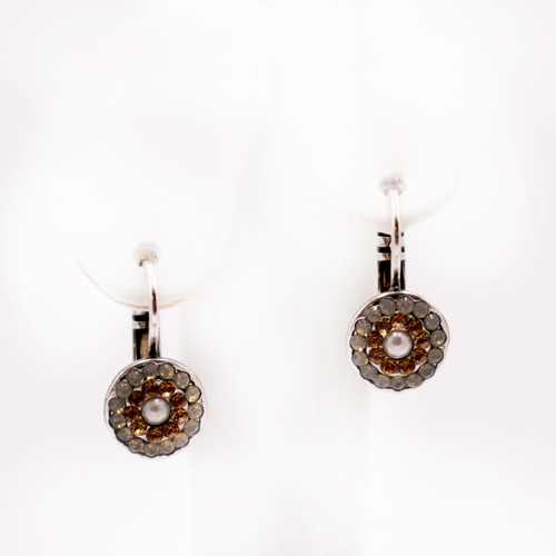 Glisten Champagne and Caviar Earrings by Mariana Jewelry