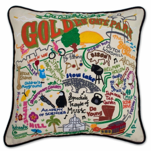 Golden Gate Park XL Hand-Embroidered Pillow by Catstudio (Special Order)