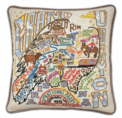 Grand Canyon XL Hand-Embroidered Pillow by Catstudio (Special Order)