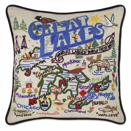 Great Lakes XL Hand-Embroidered Pillow by Catstudio (Special Order)