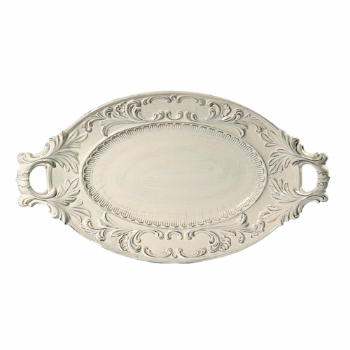"""(H) Baroque Cream Oval Tray with 2 Handles 21.5""""L x 12""""W - Intrada Italy"""