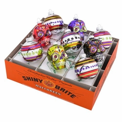 """Halloween 2.5"""" Rounds and Skulls (Set of 9) by Christopher Radko"""