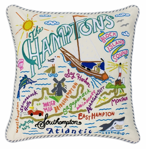 Hamptons XL Hand-Embroidered Pillow by Catstudio (Special Order)