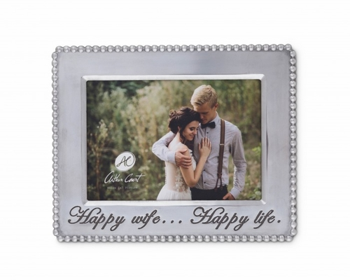 "Happy Wife Beaded 5"" x 7"" Photo Frame by Arthur Court"