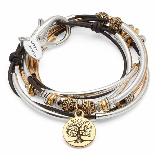 Harper with Gold Tree of Life Charm Natural Brown Gray Medium Bracelet by Lizzy James