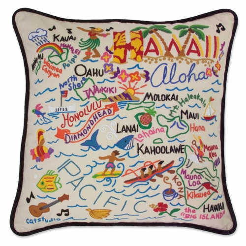 Hawaii XL Hand-Embroidered Pillow by Catstudio (Special Order)