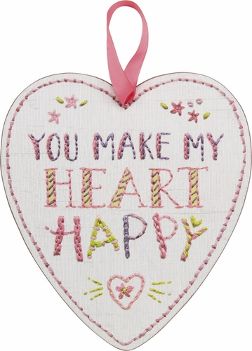 Heart Happy Hang Up Stitchery Sign - Primitives by Kathy