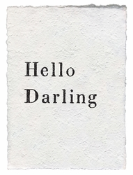 Hello Darling Handmade Paper Print by Sugarboo Designs