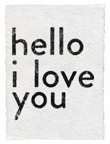 Hello I Love You Handmade Paper Print by Sugarboo Designs
