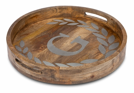 "Heritage Mango Wood with Metal Inlay Monogram 20"" Round Tray  - GG Collection"