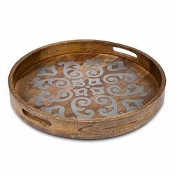"Heritage Wood with Metal Inlay 24"" Round Tray - GG Collection (Available late July)"