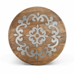Heritage Wood with Metal Inlay Lazy Susan - GG Collection