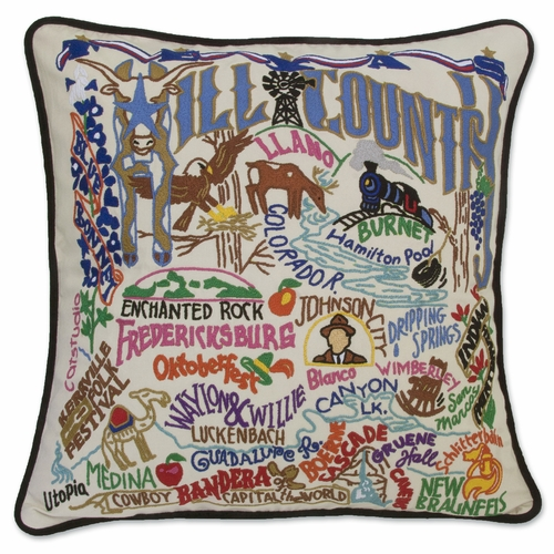 Hill Country XL Hand-Embroidered Pillow by Catstudio (Special Order)