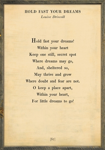 Hold Fast Your Dreams Poetry Collection Art Prints by Sugarboo Designs