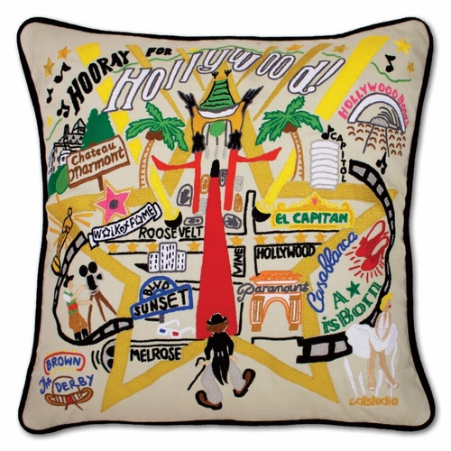 Hollywood XL Hand-Embroidered Pillow by Catstudio (Special Order)