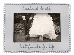 """Husband & Wife, Best Friends for Life"" Beaded 4"" x 6"" Frame by Mariposa"