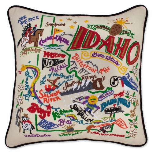 Idaho XL Hand-Embroidered Pillow by Catstudio (Special Order)