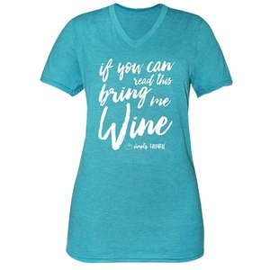 If You Can Read This Bring Me Wine Jade Simply Faithful Fitted Tee by Simply Southern