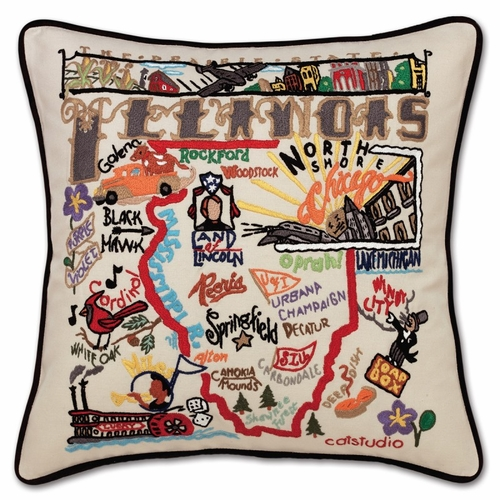 Illinois XL Hand-Embroidered Pillow by Catstudio (Special Order)