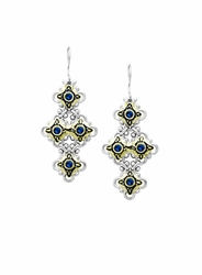 Indigo O-Link 4 Drop 3MM CZ Fish Hook Earrings by John Medeiros