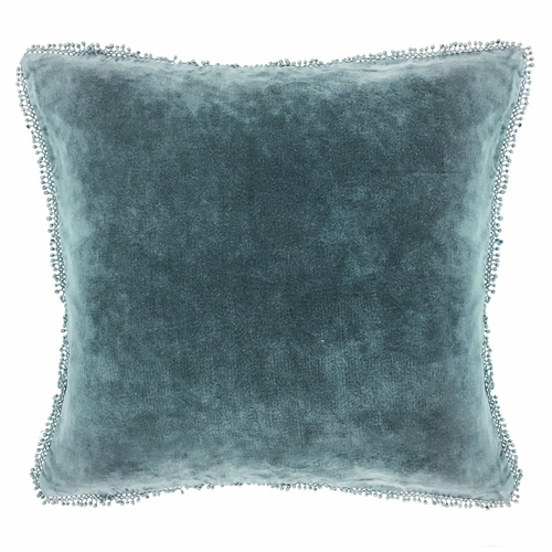 Indigo Velvet with Pom Poms Pillow by Sugarboo Designs