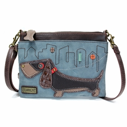 Indigo Weiner Dog Mini Crossbody Purse