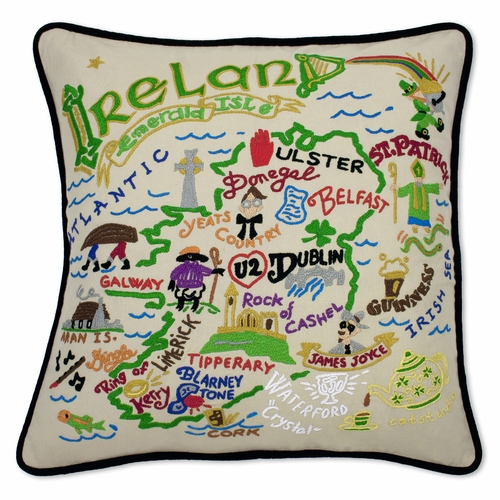 Ireland XL Hand-Embroidered Pillow by Catstudio (Special Order)