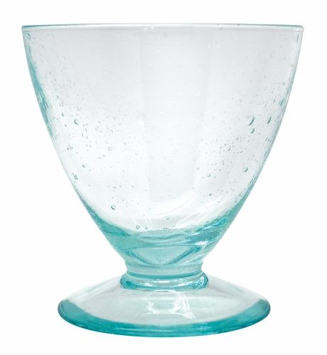 Italian Glass Turquoise Footed Cocktail by Mariposa