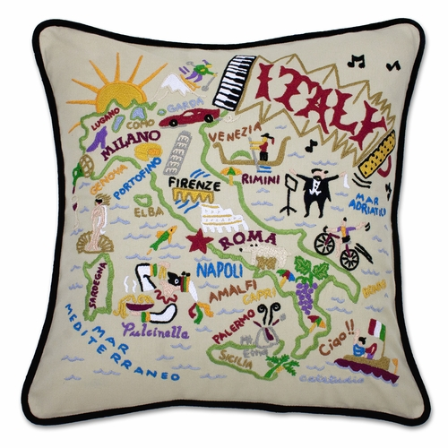 Italy XL Hand-Embroidered Pillow by Catstudio (Special Order)