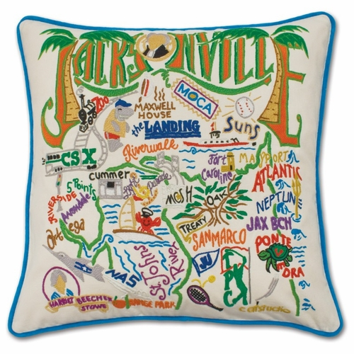 Jacksonville XL Hand-Embroidered Pillow by Catstudio (Special Order)