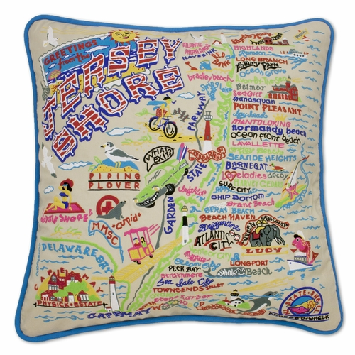 Jersey Shore XL Hand-Embroidered Pillow by Catstudio (Special Order)