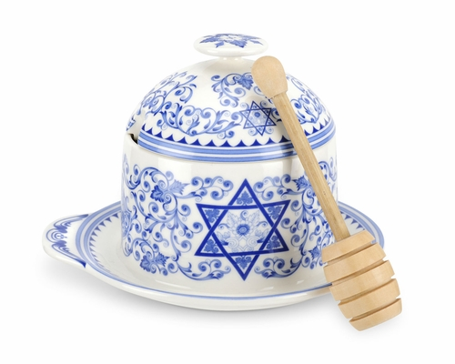 Judaica Honey Pot With Drizzler by Spode
