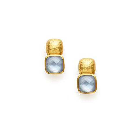 Julie Vos Catalina Cushion Earrings - Iridescent Chalcedony Blue