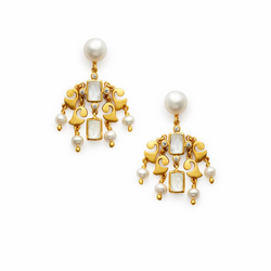 Julie Vos Clara Earring -Pearl and Iridescent Clear Crystal