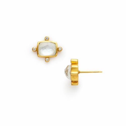 Julie Vos Clara Stud Earring -Iridescent Clear Crystal