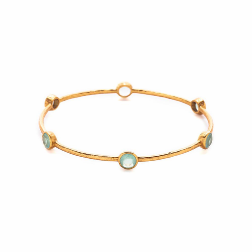 Julie Vos Milano Medium Bangle Bracelet -Aqua Chalcedony