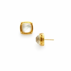 Julie Vos Monterey Stud Earrings - Iridescent Clear Crystal