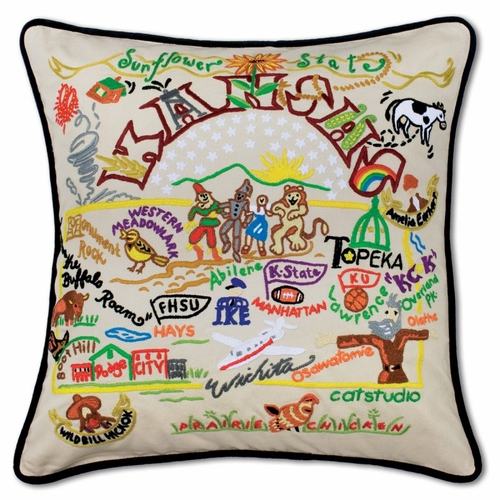 Kansas XL Hand-Embroidered Pillow by Catstudio (Special Order)