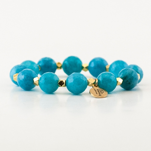 Kendley Faceted Blue Agate Stretch Bracelet by Bourbon and Boweties